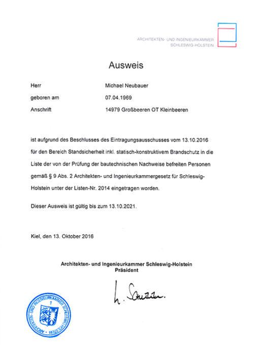 Ausweis Schleswig-Holstein – Standsicherheit, Brandschutz