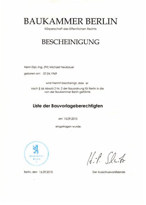 Bescheinigung Berlin – Bauvorlagenberechtigung