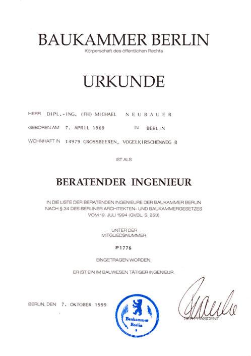 Urkunde Berlin – Beratender Ingenieur