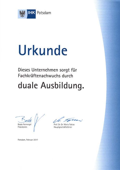 Urkunde IHK – Duale Ausbildung