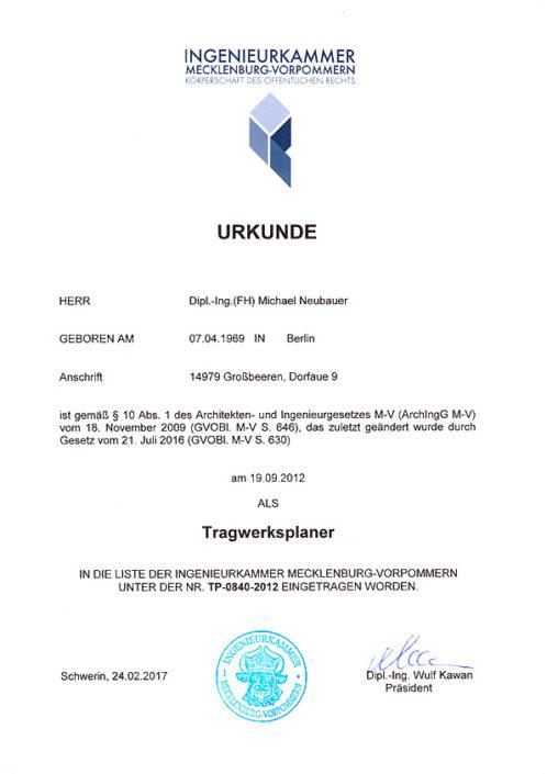 Urkunde Tragswerkplaner – Mecklenburg-Vorpommern