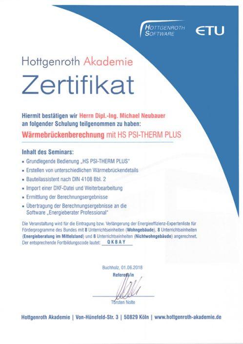 Zertifikat Waermebrueckenberechnung Neubauer
